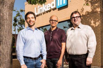 jeff-weiner-satya-nadella-reid-hoffman Microsoft LinkedIn Deal